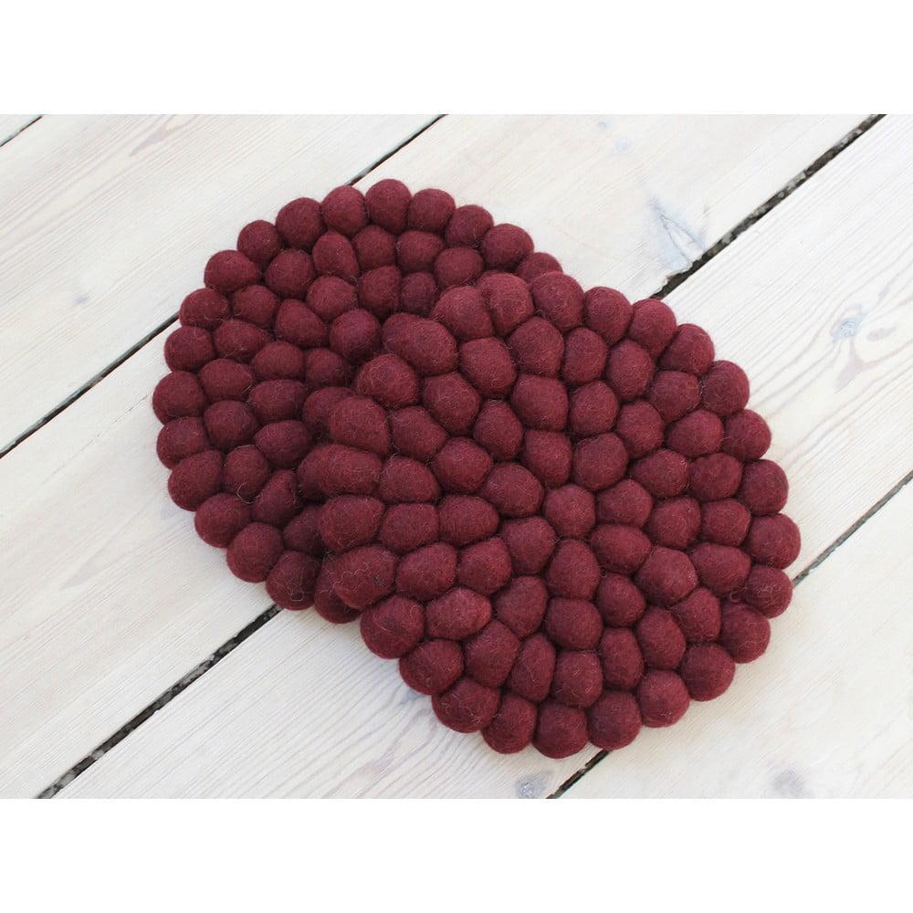 Tmavá višňovočervená guľôčková podložka z vlny Wooldot Ball Coaster, ⌀ 20 cm