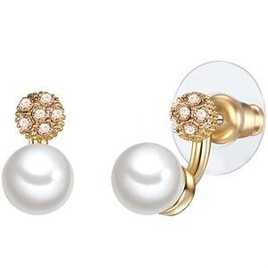Náušnice s bielou perlou Perldesse Con,⌀7 mm