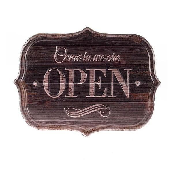 Kovová ceduľa Open, 34x25 cm