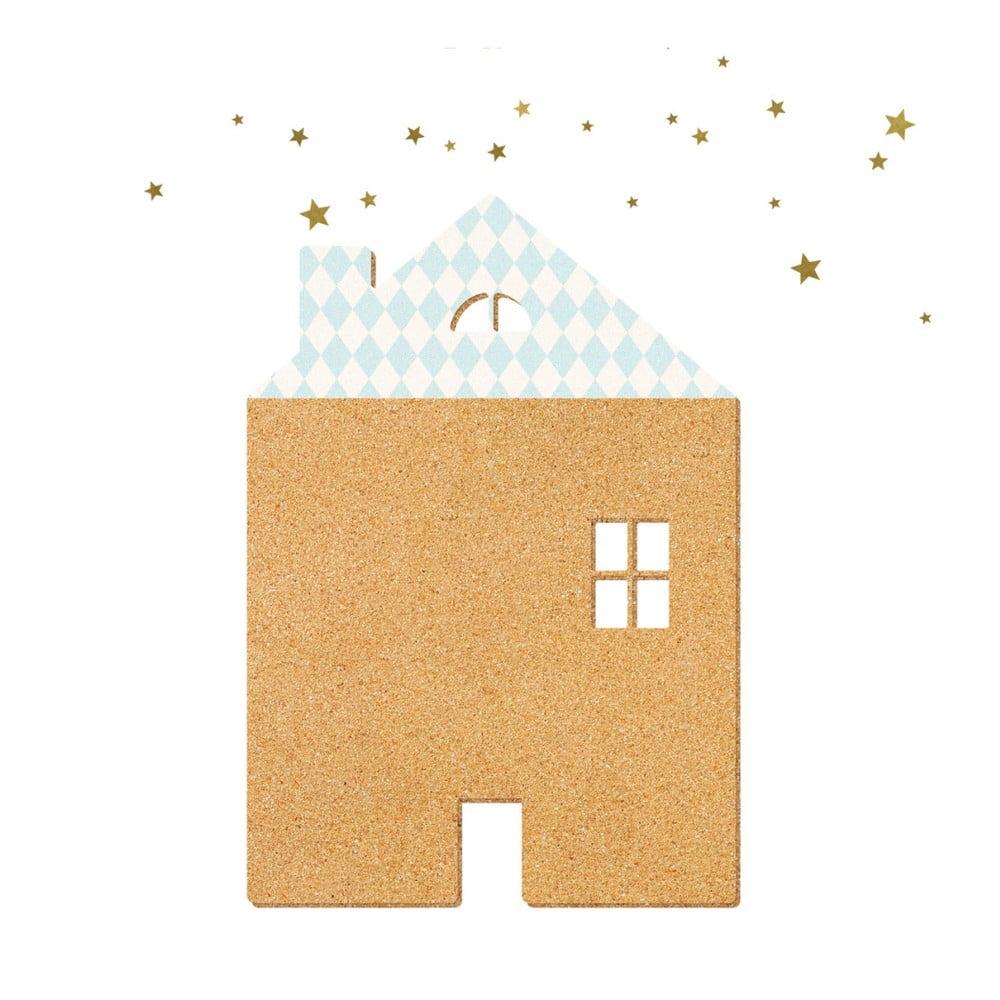 Dekoratívna samolepiaca nástenka Dekornik Blue House With Stars, 57 × 40 cm