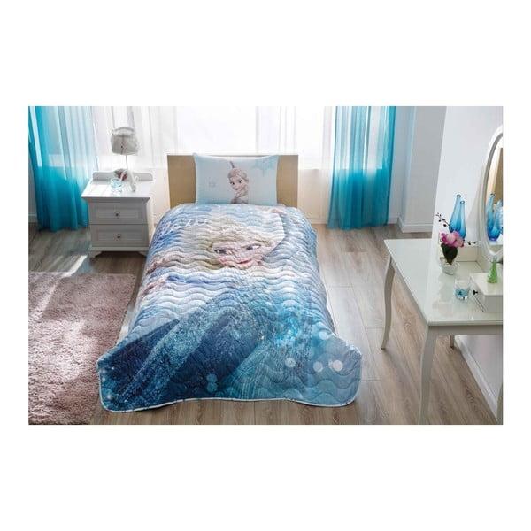 Set plédu na posteľ a obliečky na vankúš Disney Frozen Glitter, 160 × 220 cm