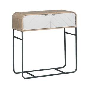 Hnedo-biely konzolový stolík z masívneho mangového dreva Woodjam Chevron