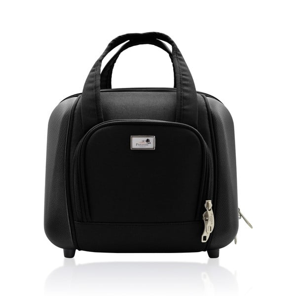 Sada tašky na koliekach a príručnej tašky Vanity Black
