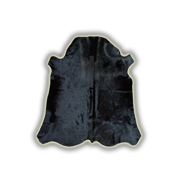 Čierna kožená predložka Pipsa Normand Cow, 170×190cm