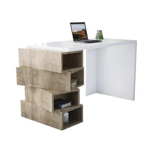 Biely pracovný stôl v dekore orechového dreva Jenga