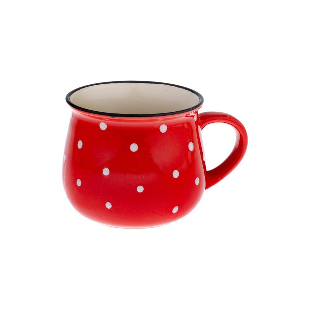 Červený keramický hrnček s bodkami Dakls Premio, 770 ml