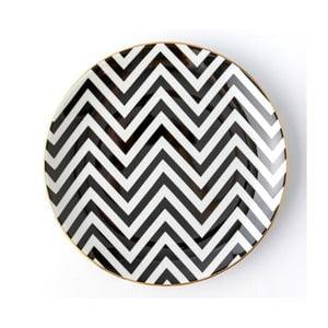 Čierno-biely porcelánový tanier Vivas Zigzag, ⌀23 cm