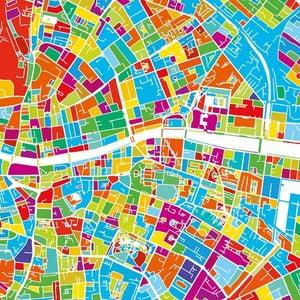 Obraz Homemania Maps Dublin, 60×60 cm