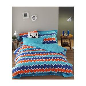 Obliečky s plachtou na dvojlôžko z ranforce bavlny Mijolnir Zigros Orange, 200 × 220 cm