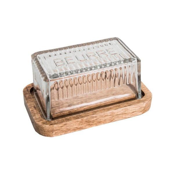 Dóza na maslo s dreveným podnosom a skleneným vrchnákom Antic Line