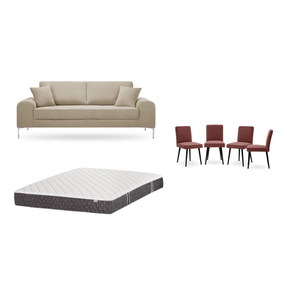 Set trojmiestnej sivobéžovej pohovky, 4 tehlovočervených stoličiek a matraca 160 × 200 cm Home Essentials