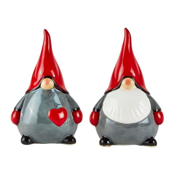 Sada 2 dekoratívnych vianočných keramických figúrok KJCollection Snowy Time, 15 cm
