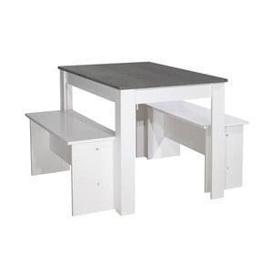 Set 2 bielych lavíc a bieleho jedálenského stola s čiernou doskou 13Casa Clark