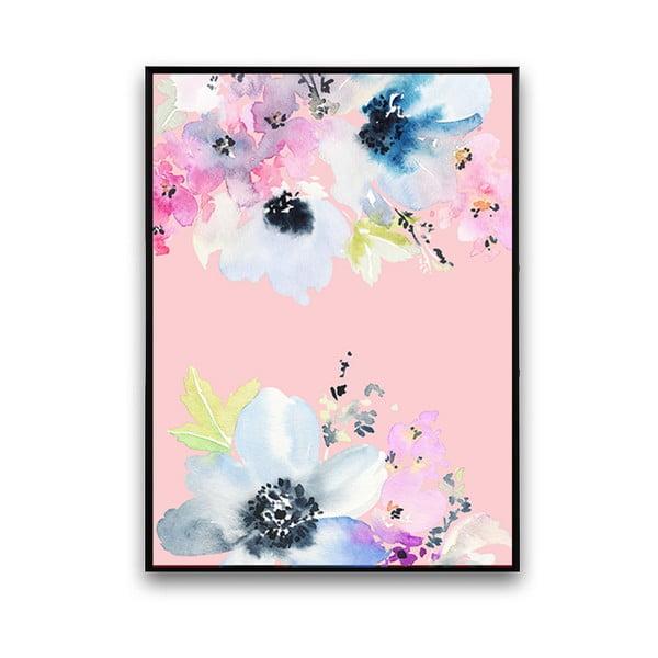 Plagát s modrými kvetmi, ružové pozadie, 30 x 40 cm