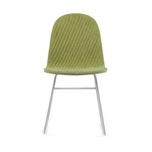 Svetlozelená stolička s kovovými nohami IKER Mannequin V Stripe