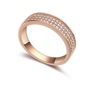 Prsteň s krištáľmi Swarovski a ružovým zlatom Cubic, veľkosť 54