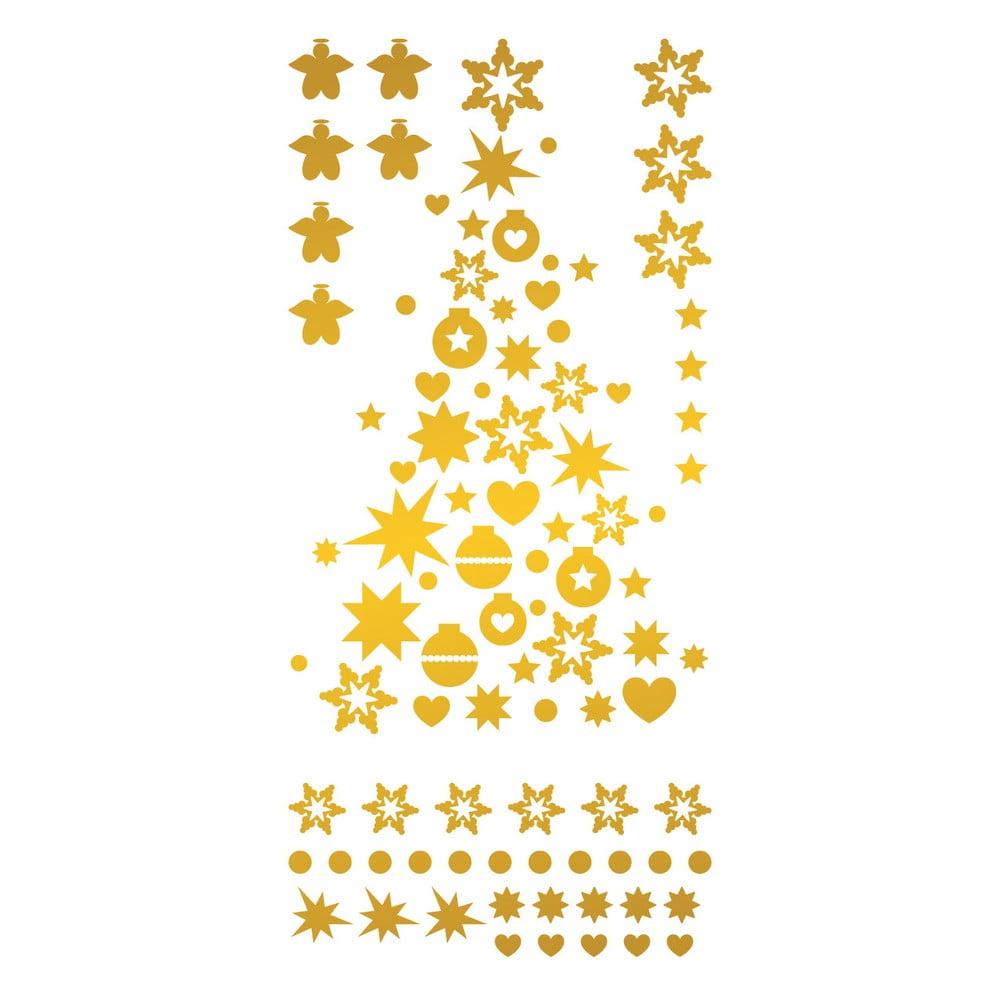 Vianočné samolepky Ambiance Golden Christmas Tree And Stars