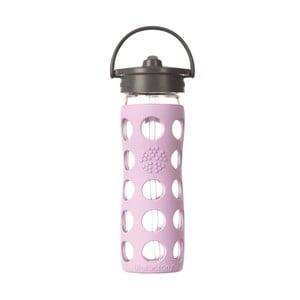 Sklenená fľaša na vodu so silikónovou slamkou a chráničom Lifefactory Lilac, 475 ml