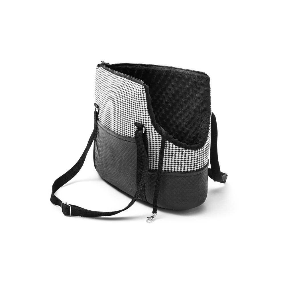 Čierno-biela cestovná taška pre psa Marendog Pepita, 17 × 32 × 27 cm