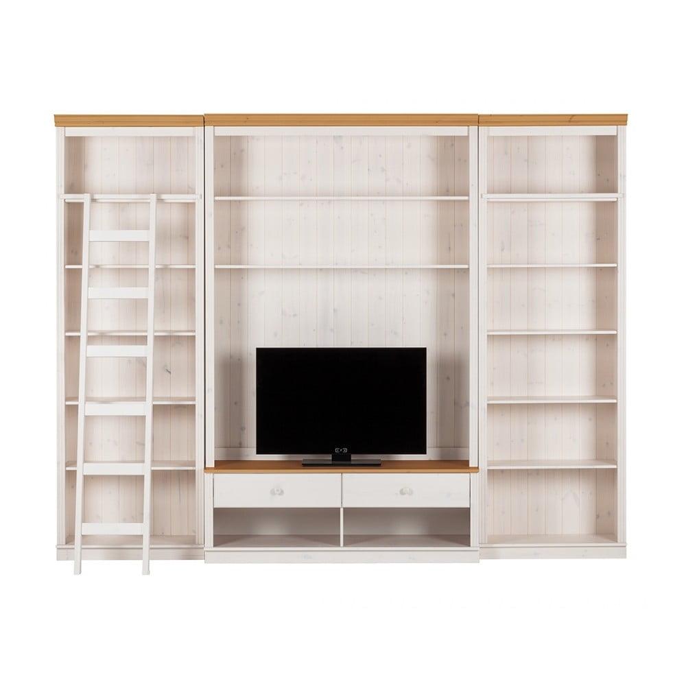 Biela TV stena s hnedými detailmi z borovicového masívu Støraa Annabelle, šírka 219 cm