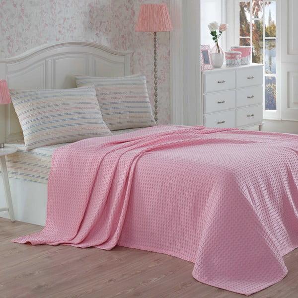 Ľahká prikrývka s plachtou a obliečkami na  vankúše Gofre Pink, 200x230 cm