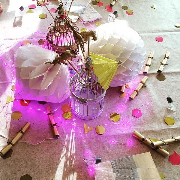 Ružovo svietiaca reťaz Talking Tables Party, dĺžka3 m