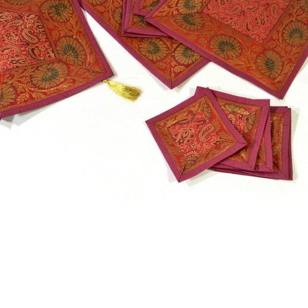 Brokátové prestieranie Paisley, červené
