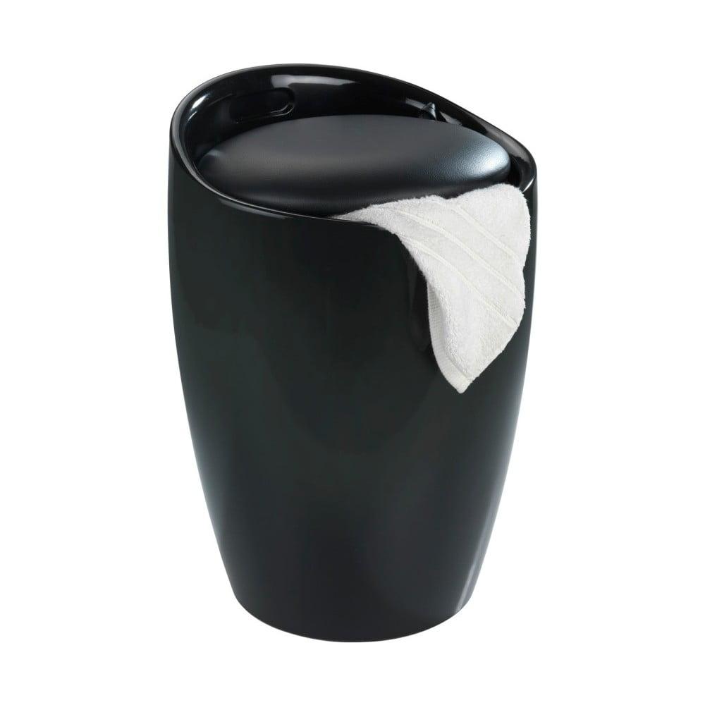 Čierny kôš na prádlo a taburetka v jednom Wenko Candy, 20 l