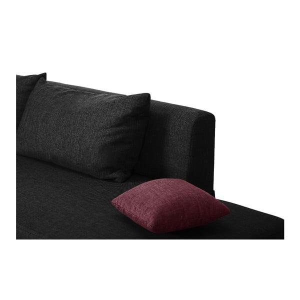 Čierno-ružová rozkladacia pohovka Modernist Pashmina, ľavý roh