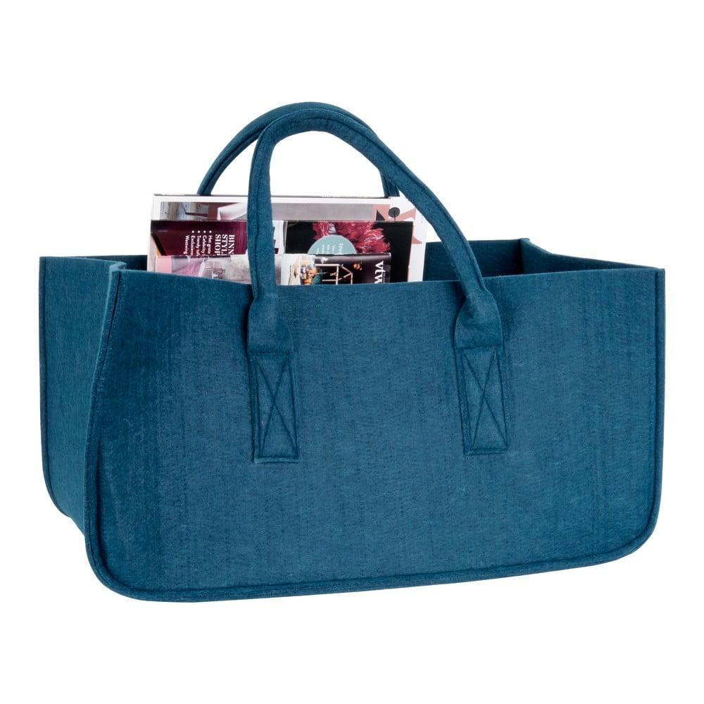 Modrý košík na časopisy PT LIVING Mellow