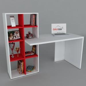 Pracovný stôl s knihovnou Win White/Red, 60x151x123,6 cm