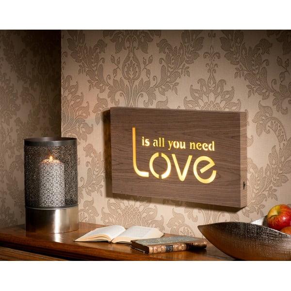 Obraz so svietiacim nápisom Love, 42x24 cm