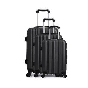 Sada 3 čiernych cestovných kufrov na kolieskach Hero San Diego