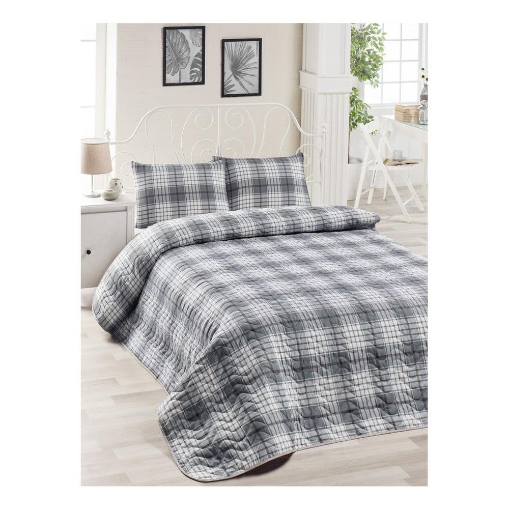 Set sivej bavlnenej prikrývky cez posteľ a 2 obliečok na vankúše Harro Mento, 200 × 220 cm