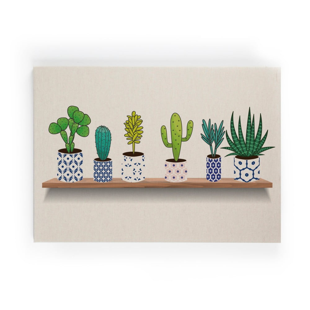 Obraz na plátne Really Nice Things Lino Cactus Shelve, 50 × 70 cm