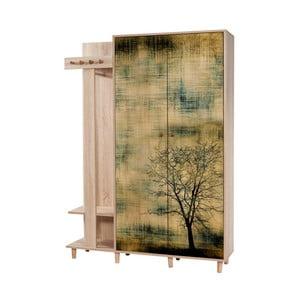 Hnedá predsieňová stena Garmanto Tree, výška 194 cm
