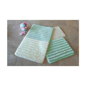 Sada 3 zeleno-bielych predložiek do kúpeľne Alessia