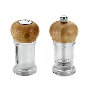 Sada 2 ks sklenených mlynčekov na korenie Metaltex, dĺžka 10 cm