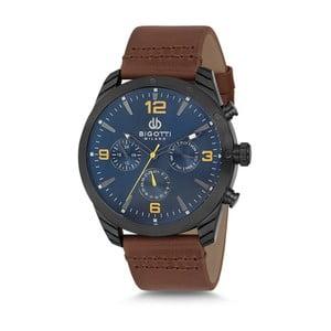Pánske hodinky s hnedým koženým remienkom a modrým ciferníkom Bigotti Milano Bruce