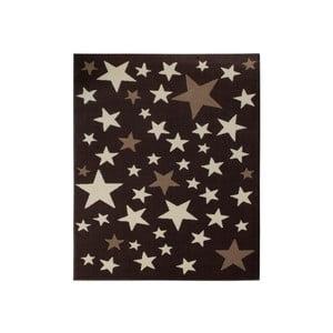 Koberec City & Mix - hnedé hviezdy, 140x200 cm