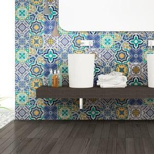 Sada 9 nástenných samolepiek Ambiance Wall Stickers Tiles Azulejos Vintage Arabesques, 20×20 cm