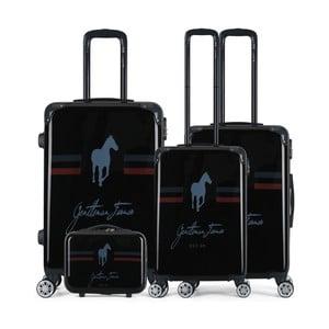 Sada 4 čiernych cestovných kufrov na kolieskach GENTLEMAN FARMER Integre & Vanity Malo