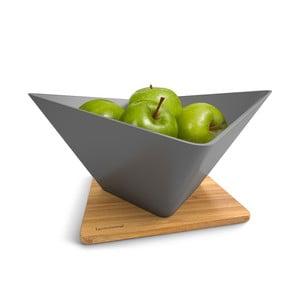 Odkvapkávacia misa na ovocie s podložkou Draining Fruit Bowl, šedá
