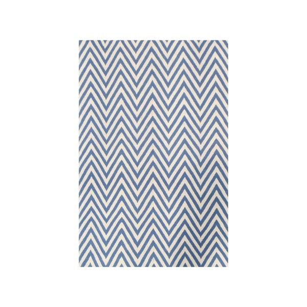 Vlnený koberec Zig Zag Light Blue, 240x155 cm