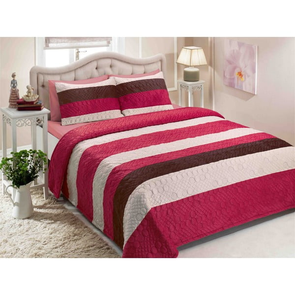 Sada prikrývky na posteľ a dvoch vankúšov Double 220, 250 x 260 cm