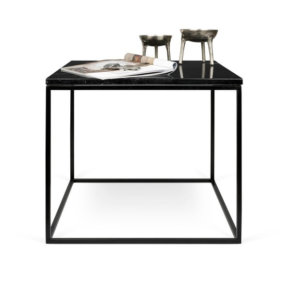 Čierny mramorový konferenčný stolík s čiernymi nohami TemaHome Gleam, 50cm