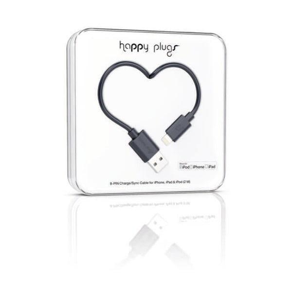 Čierny Happy Plugs nabíjací a dátový kábel, 2 metre