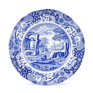 Sada 4 bielo-modrých tanierov Spode Blue Italian, ø 27 cm