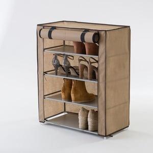Béžový textilný štvorposchodový stojan na topánky Compactor