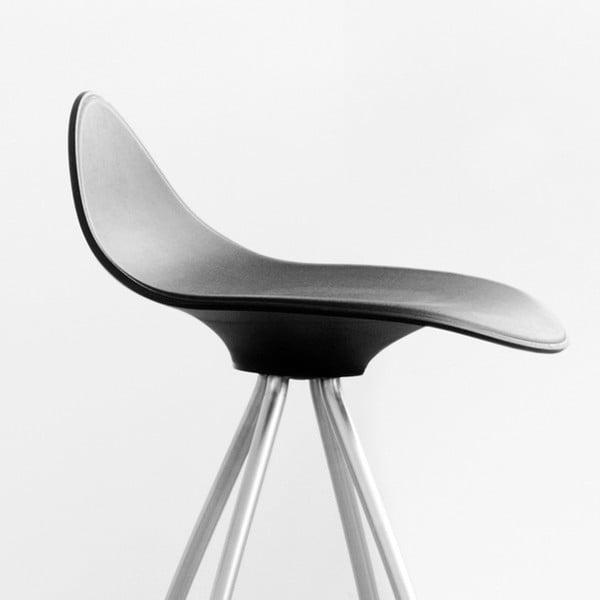 Čierna stolička s chrómovanými nohami Stua Onda, 76 cm